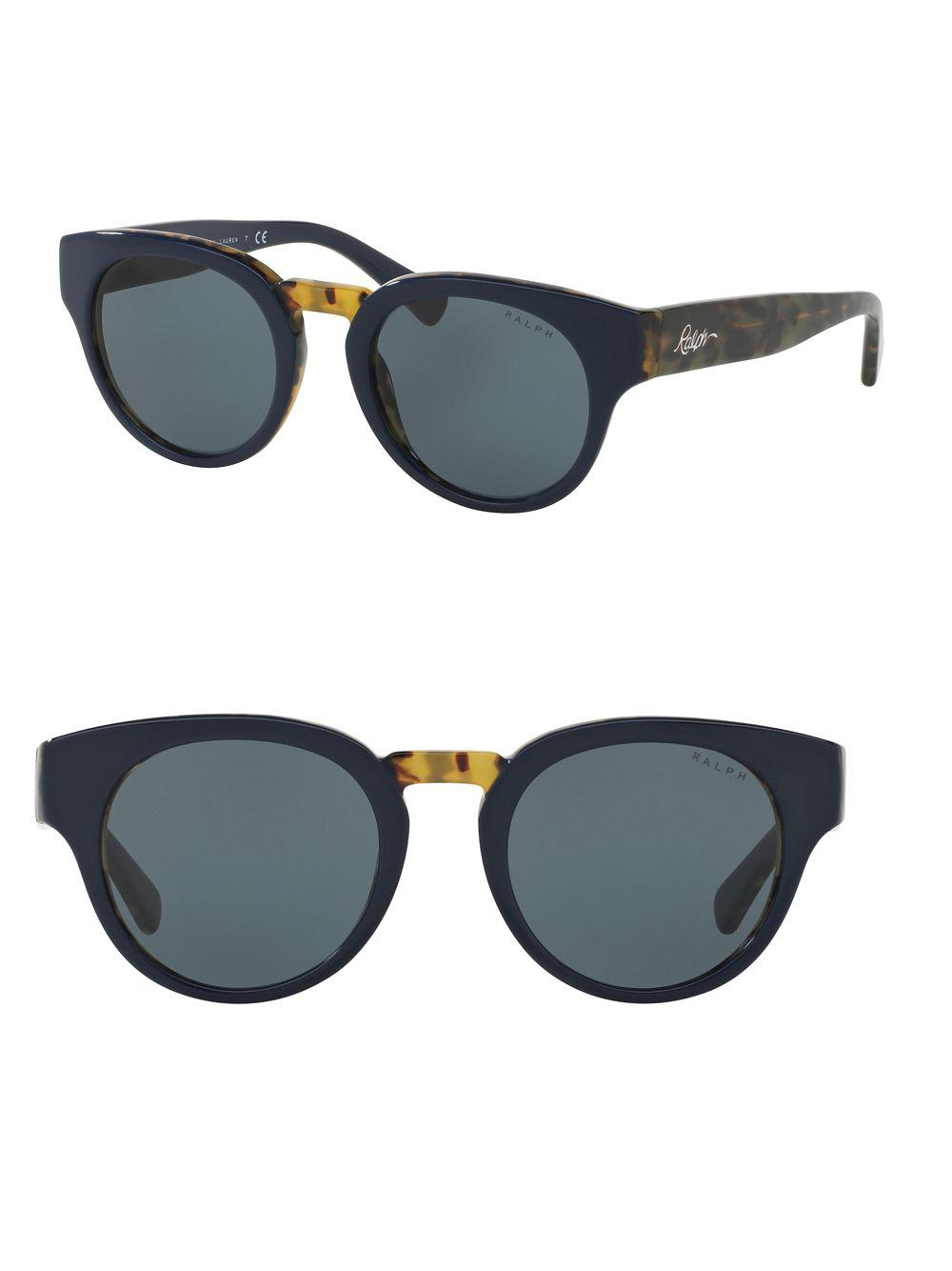 78fd6ae3009 Lyst - Ralph Lauren 50mm Round Sunglasses in Blue