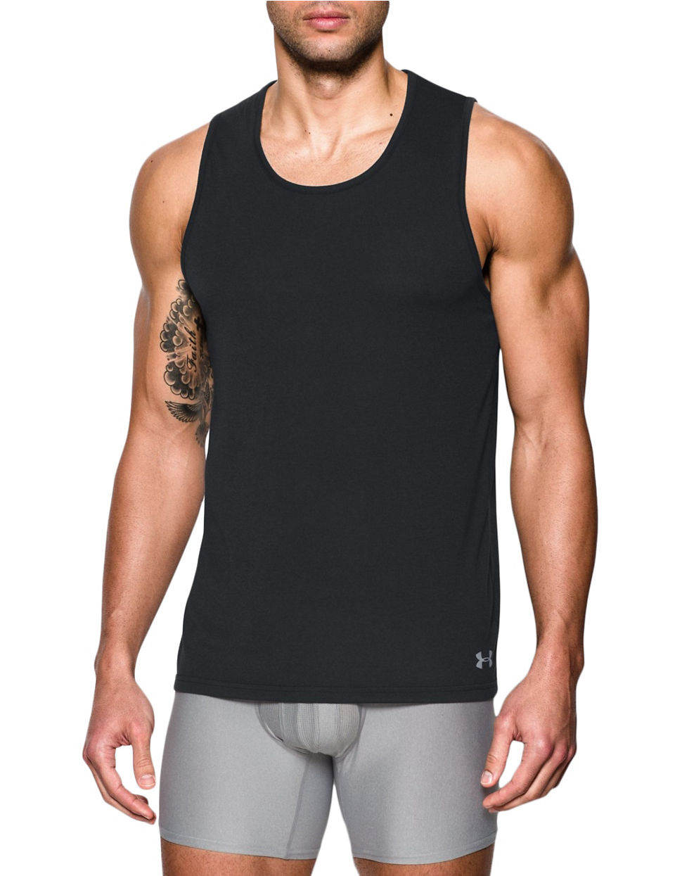 Under armour 2 pack undershirt tank in gray for men lyst for Mens under armour under shirt