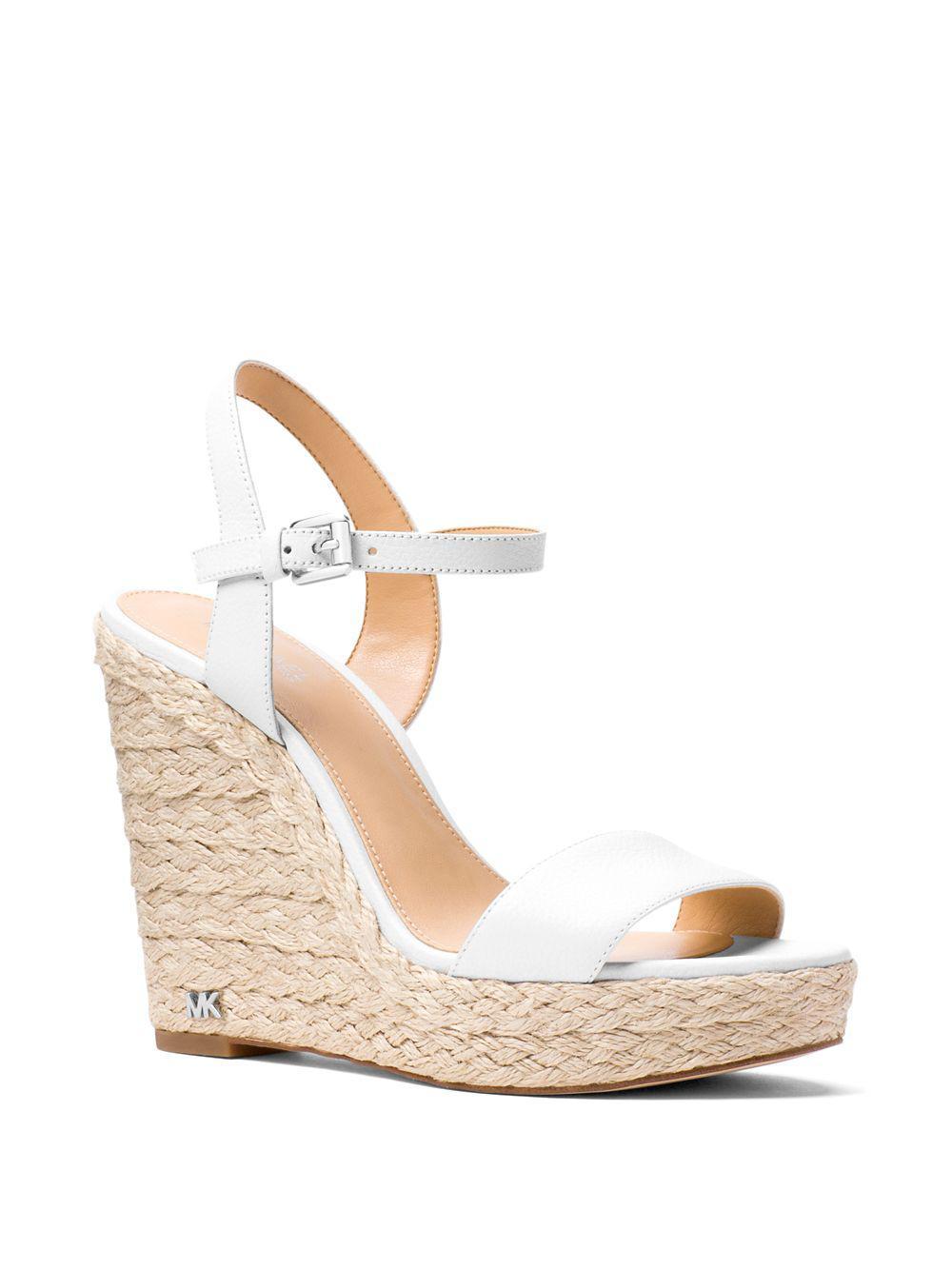 106f76acf6d MICHAEL Michael Kors White Jill Leather Wedge Sandals