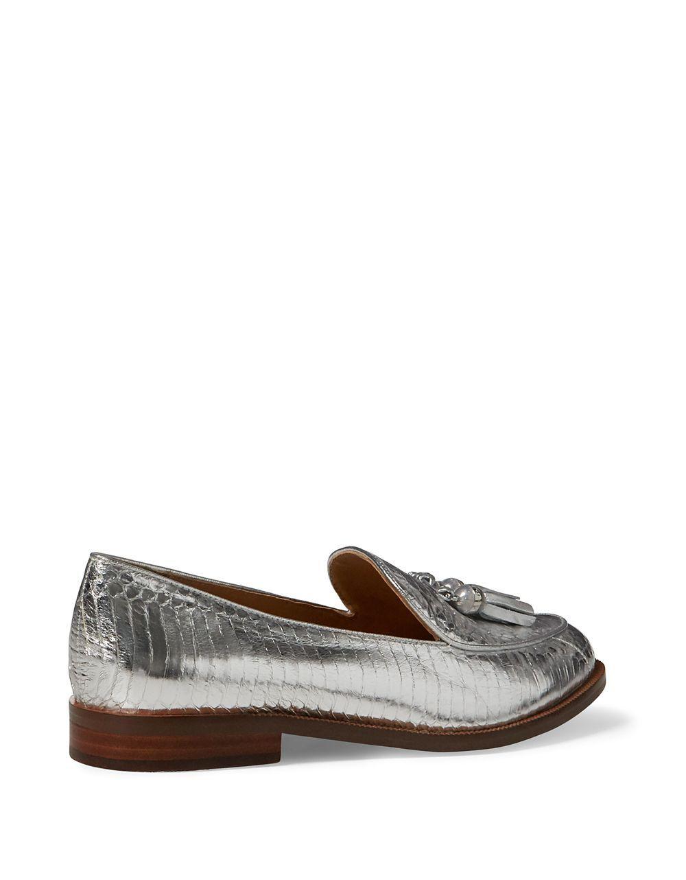 f82ff30c4 Lauren by Ralph Lauren Brindy Metallic Leather Croc-embossed Loafers in  Metallic - Lyst