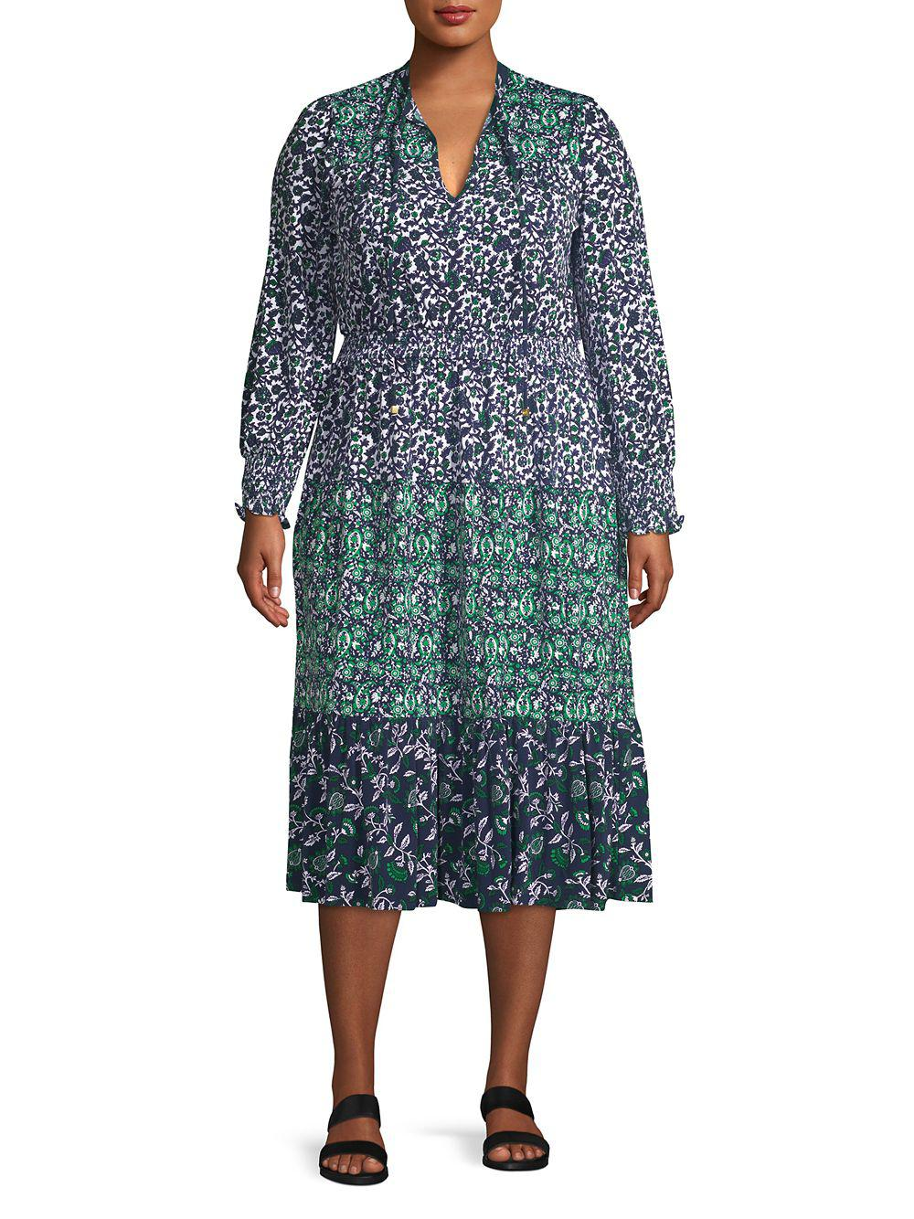 9e0ec317322 Lyst - Michael Michael Kors Plus Printed Long Sleeve Dress in Blue