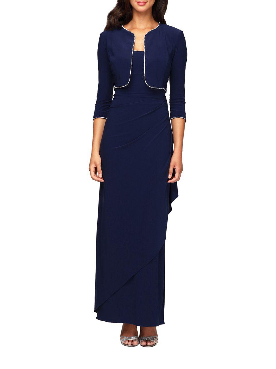 Lyst Alex Evenings Jersey Side Draped Gown With Bolero Jacket In Blue