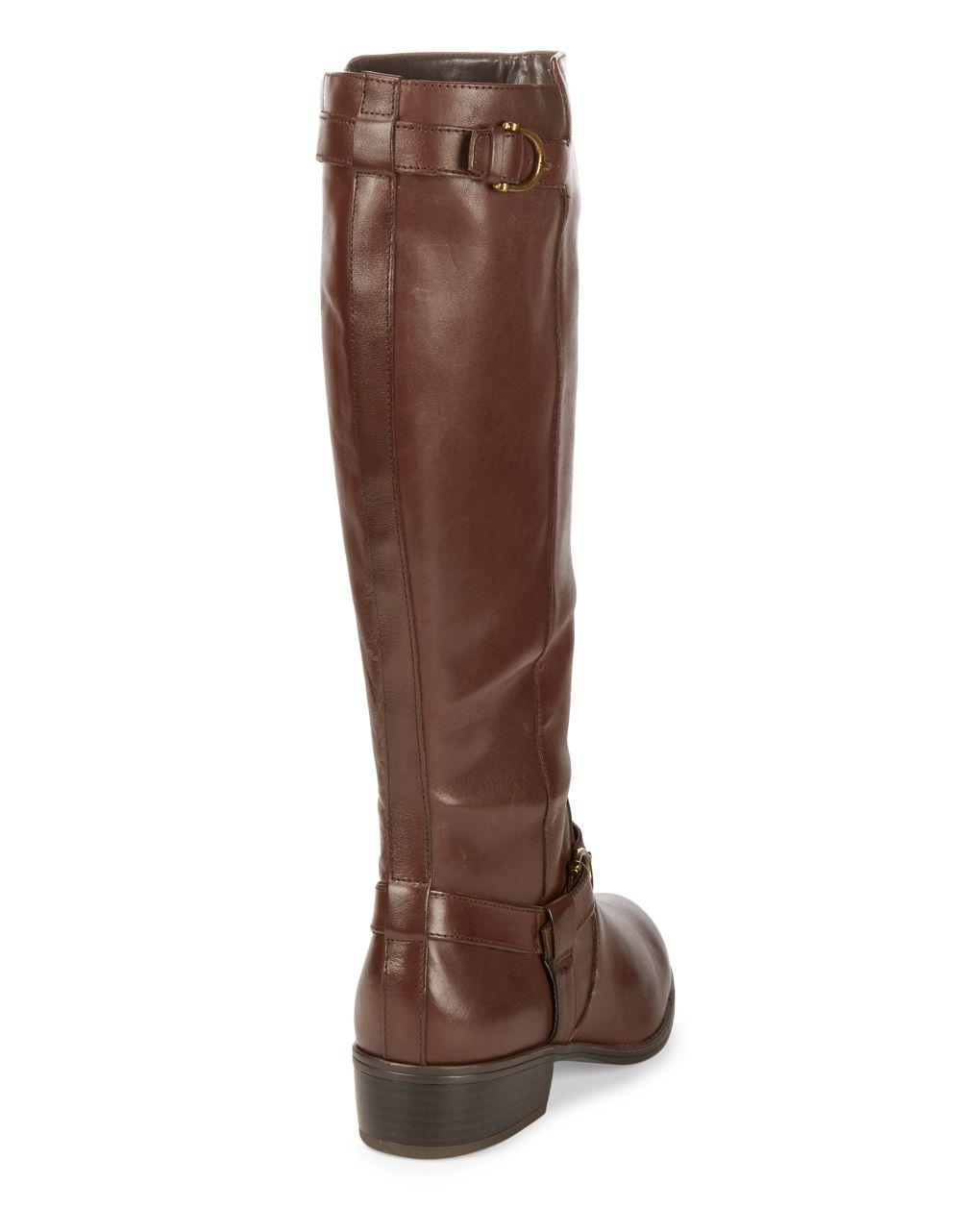 969cb20c1b6a Lauren By Ralph Lauren Margarite Wide Calf Leather Boots in Brown - Lyst