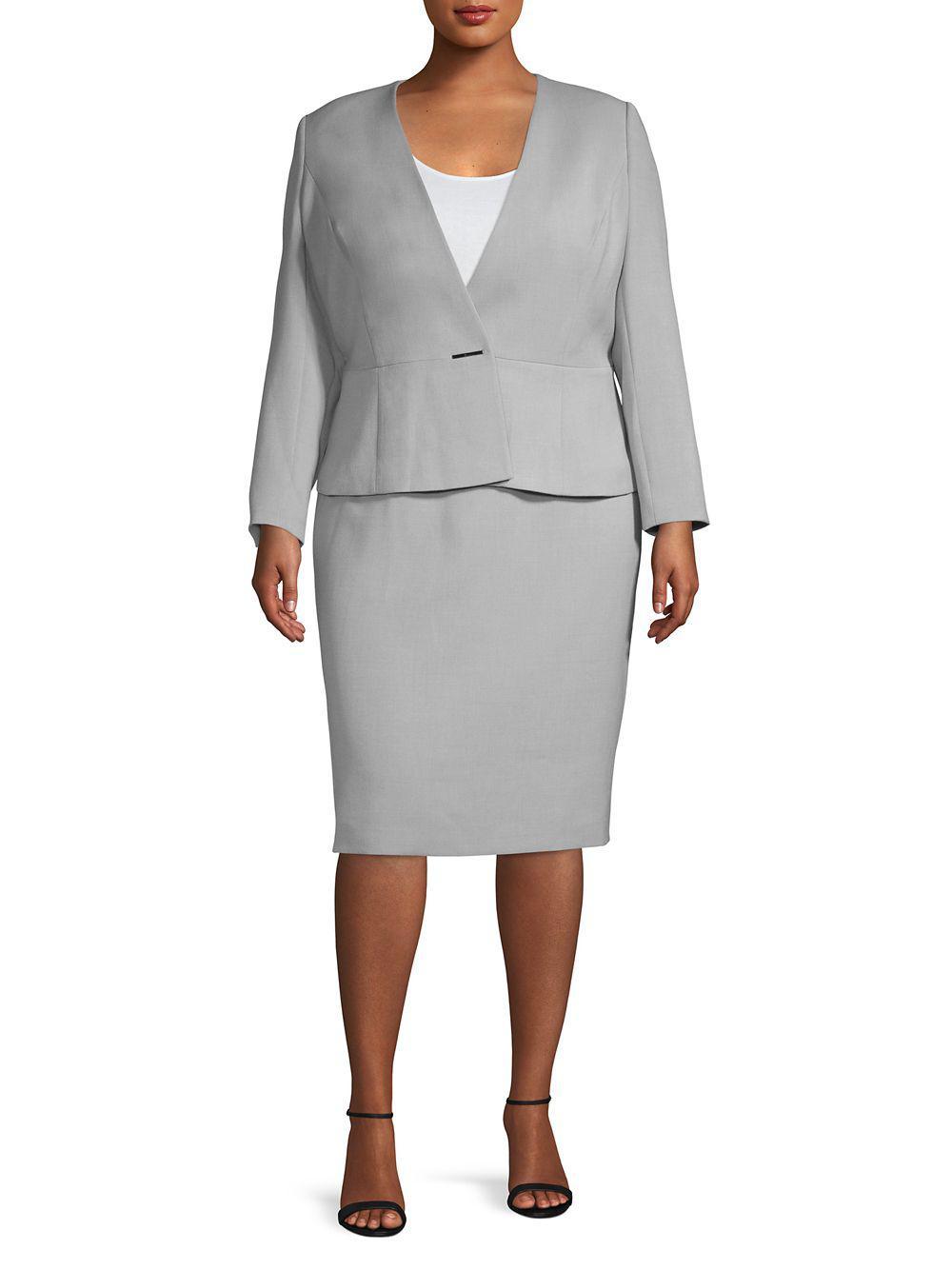 82414ffdf7705 Lyst - Tahari Plus Two-piece Bi-stretch Jacket & Pencil Skirt Suit ...