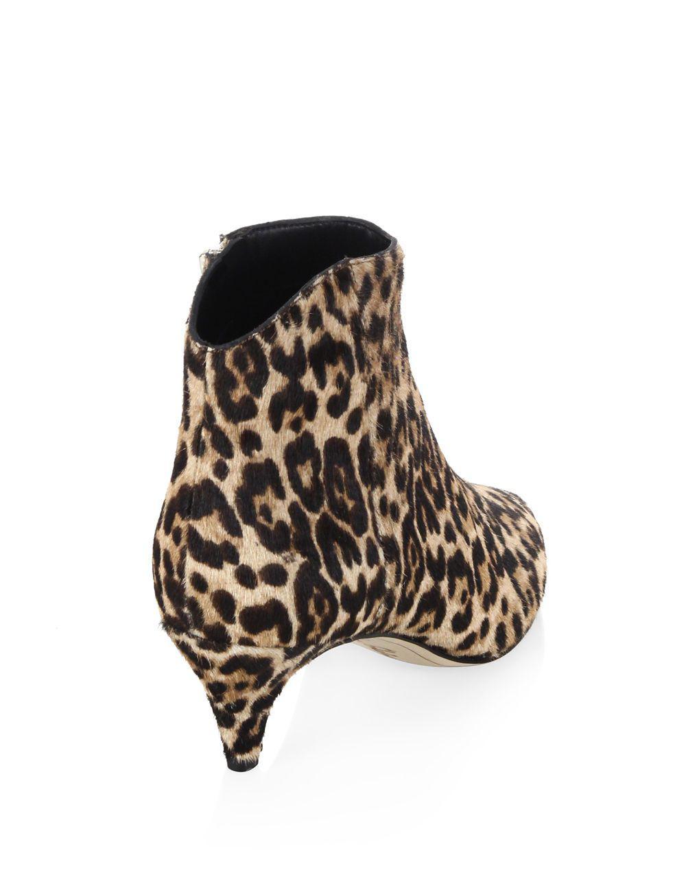 92580e6d3 Lyst - Sam Edelman Kinzey Leopard Print Calf Hair Kitten Heel Booties -  Save 50.0%