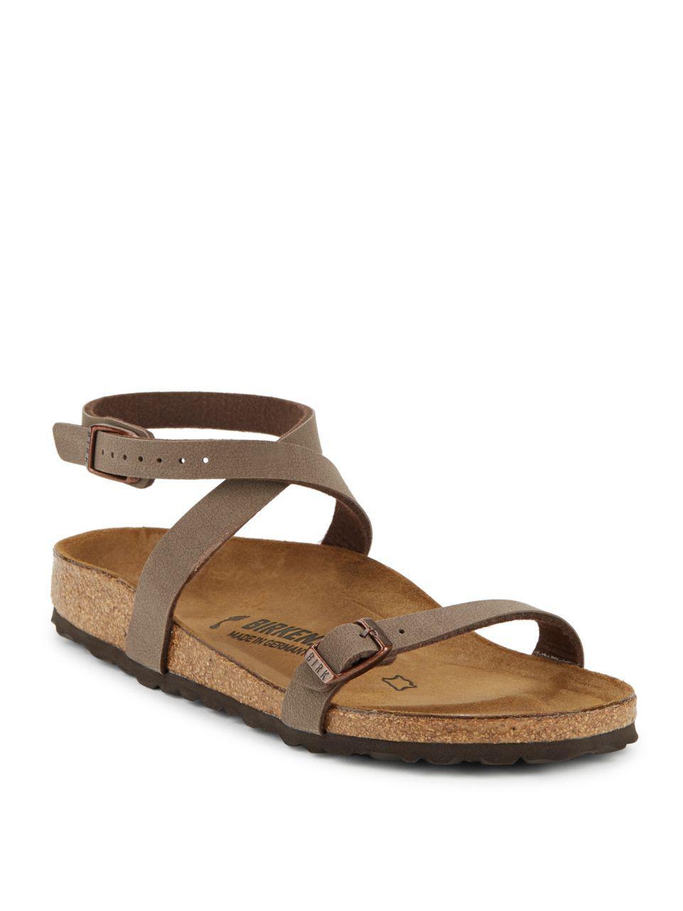 82fc08af72af Birkenstock Daloa Ankle Strap Flat Sandals in Brown - Lyst