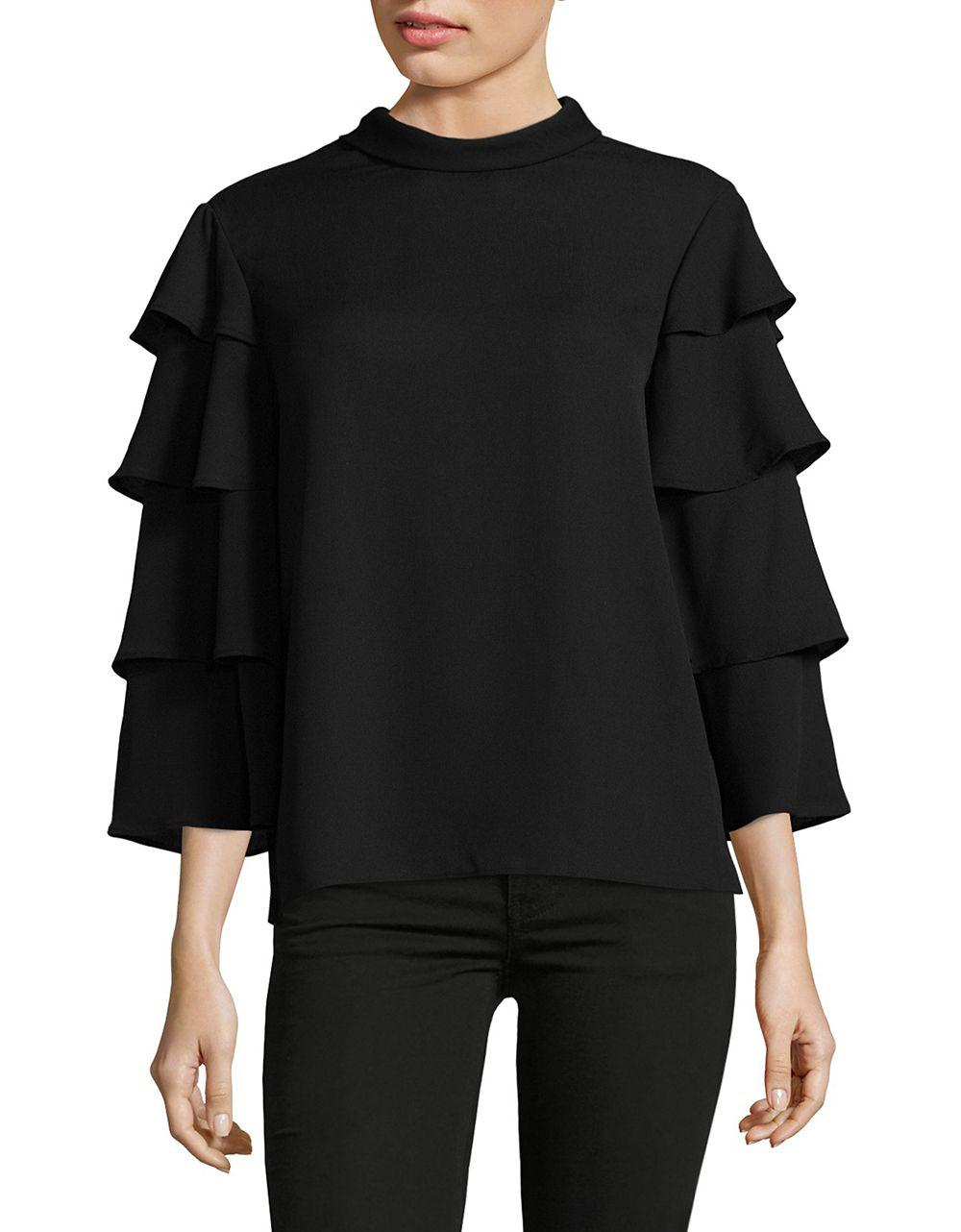 Lyst Lord Taylor Cape Sleeve Top In Black