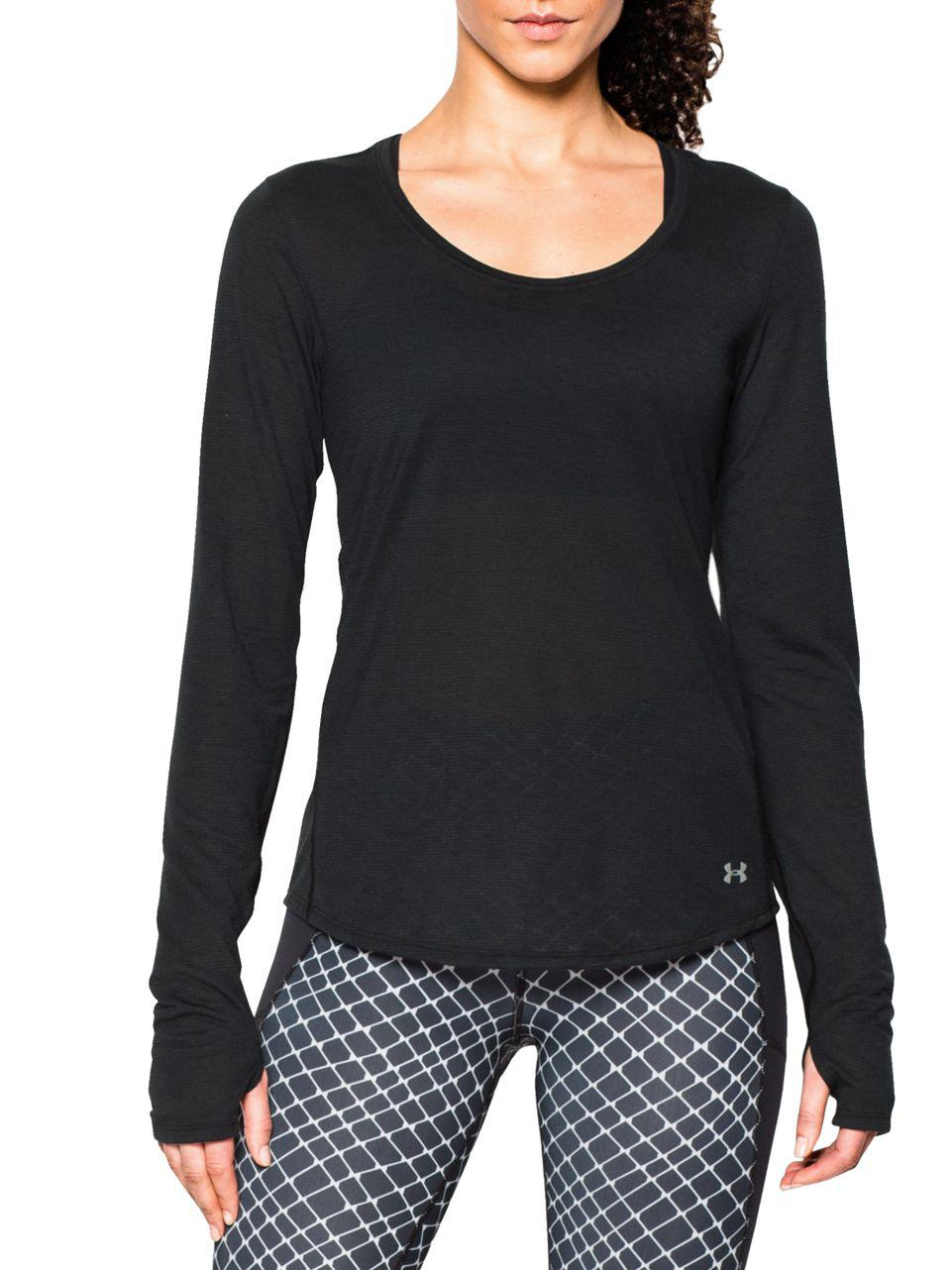 Lyst under armour charged threadborne streaker top in black for Thrilla in manila shirt under armour