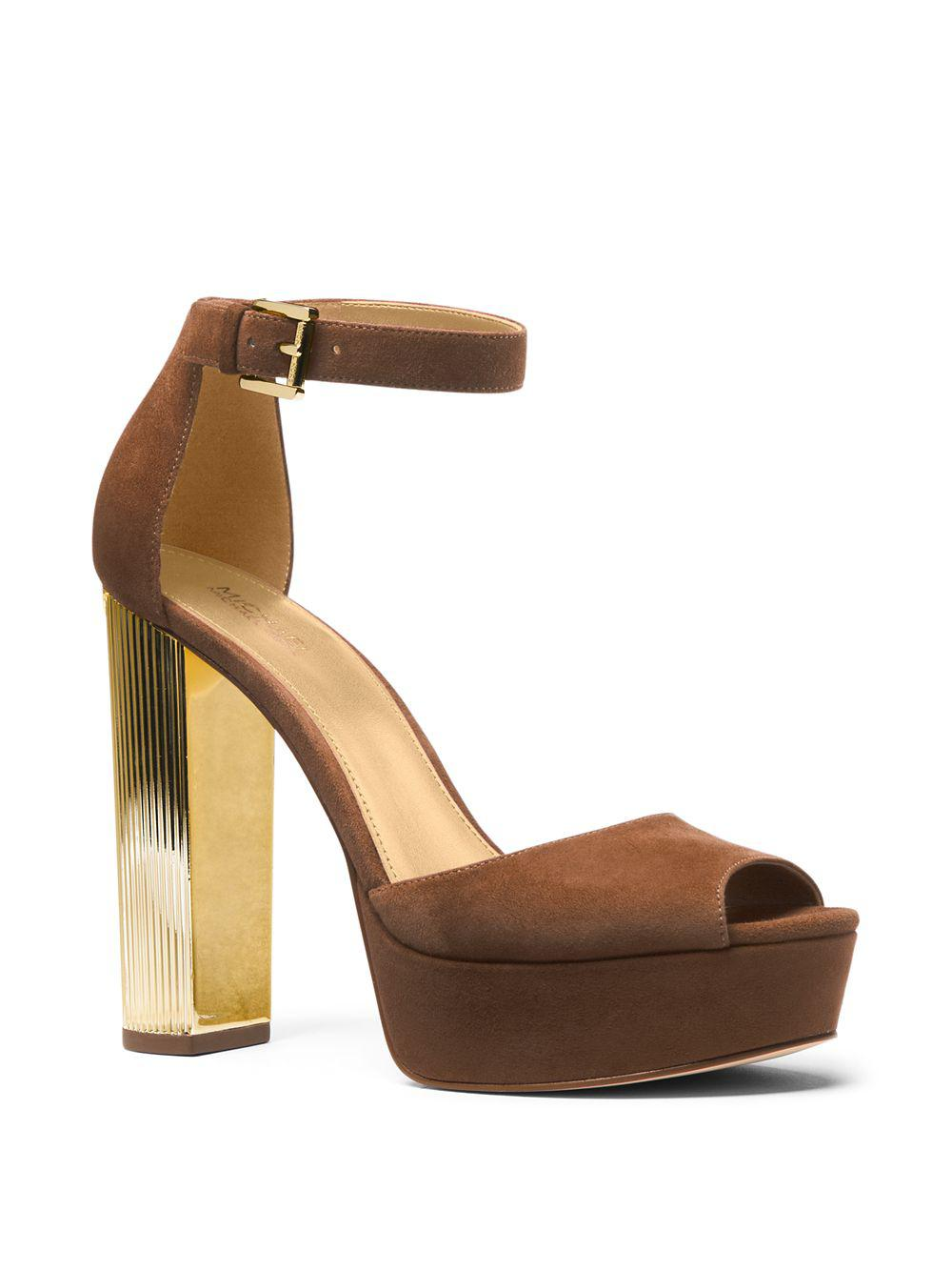 ac7db73b013a Michael Michael Kors Paloma Suede Platform Dress Sandals in Brown - Lyst