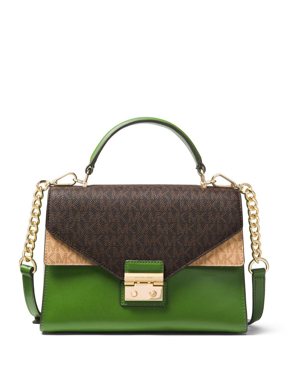 8ef656ec907e ... coupon for michael michael kors sloan medium logo leather satchel in  green lyst ac97e 8ad96