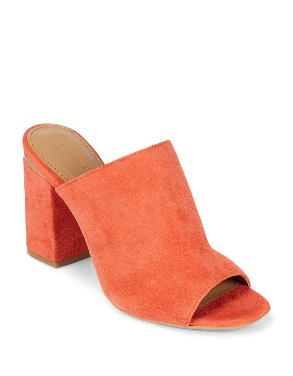 fff5643bd5d Lyst - Calvin Klein 205W39Nyc Cicelle Studded Suede Mule in Red