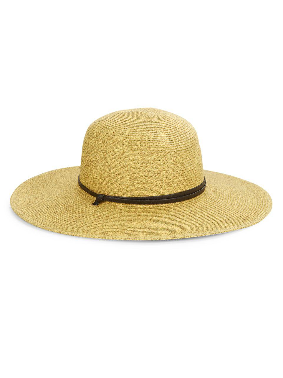 20c043412bf San Diego Hat Company Leather Banded Rancher in Yellow - Lyst