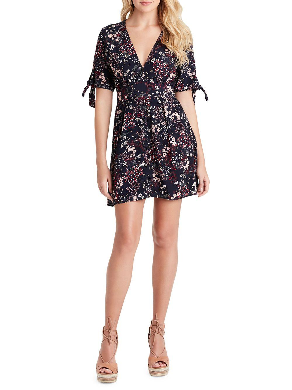 Jessica Simpson Brooklyn Floral Fit Amp Flare Dress In Blue