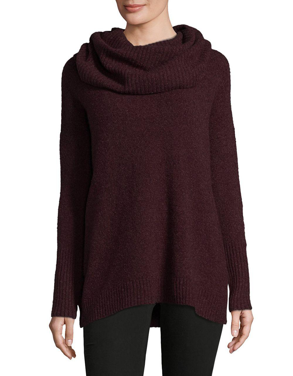 French connection Textured Cowlneck Sweater in Purple | Lyst