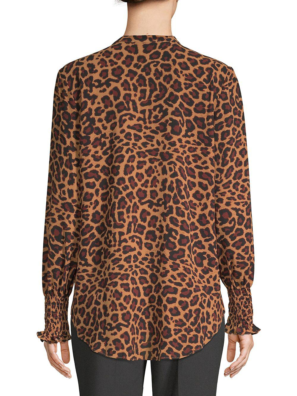17db074e6abf Lord + Taylor Leopard Print Georgie Smocked Sleeve Blouse in Brown ...