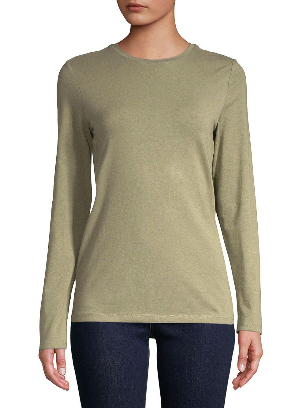 d413216056fb3 Lyst - Lord   Taylor Long-sleeve Stretch Top in Green
