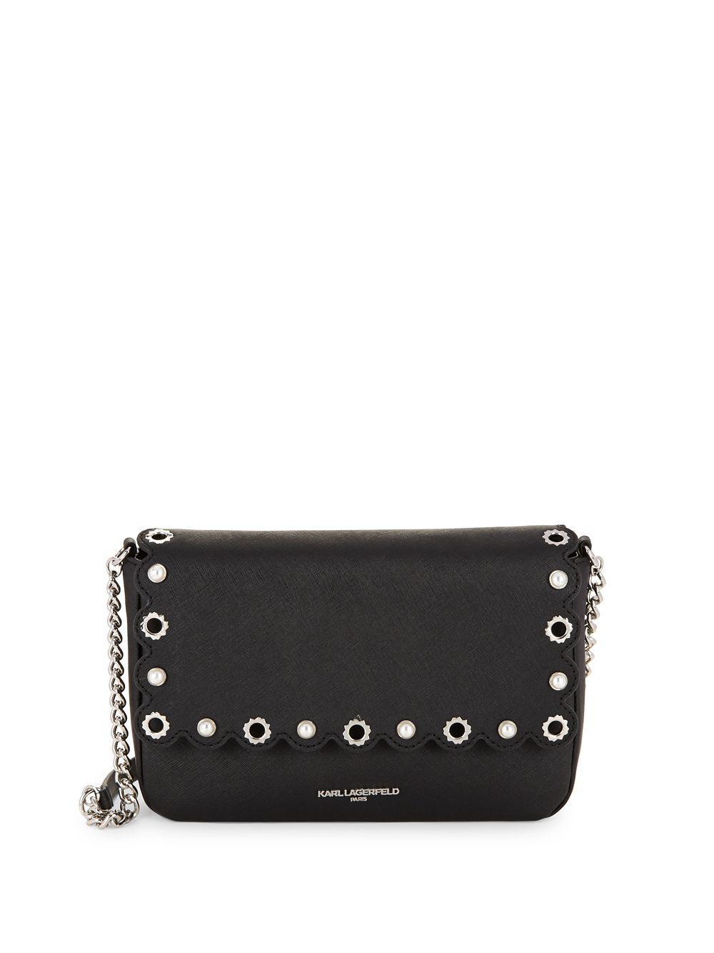 7bd8eeddeb20 Karl Lagerfeld Elsa Embellished Saffiano Foldover Crossbody in Black ...