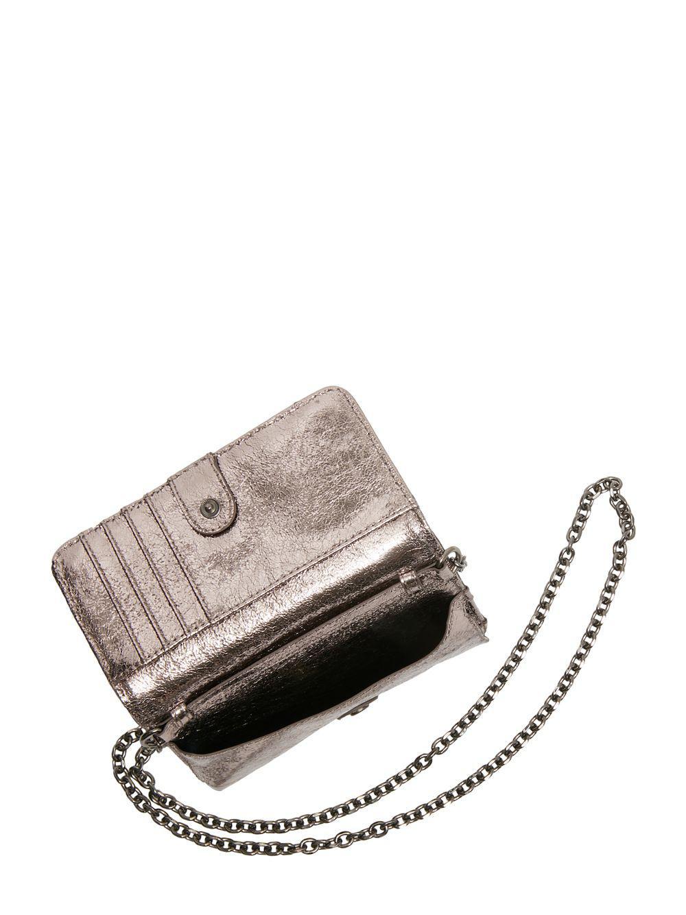 72234bb982d5 Betsey Johnson Rock On Embellished Crossbody Wallet in Metallic - Lyst