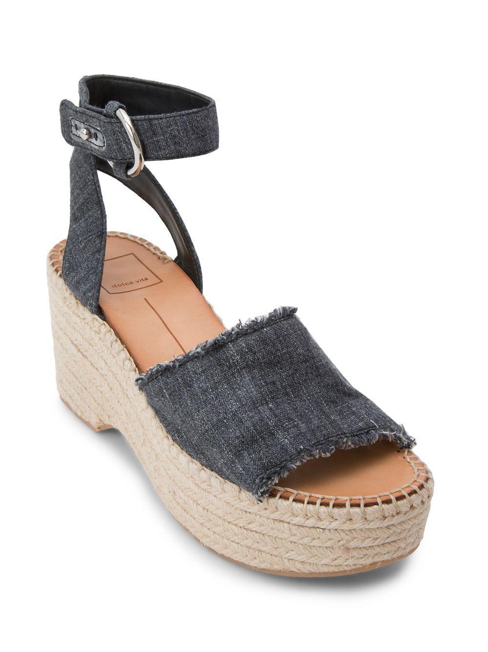 Dolce Vita Lesly Linen Platform Espadrille Sandals bYsFkBrW