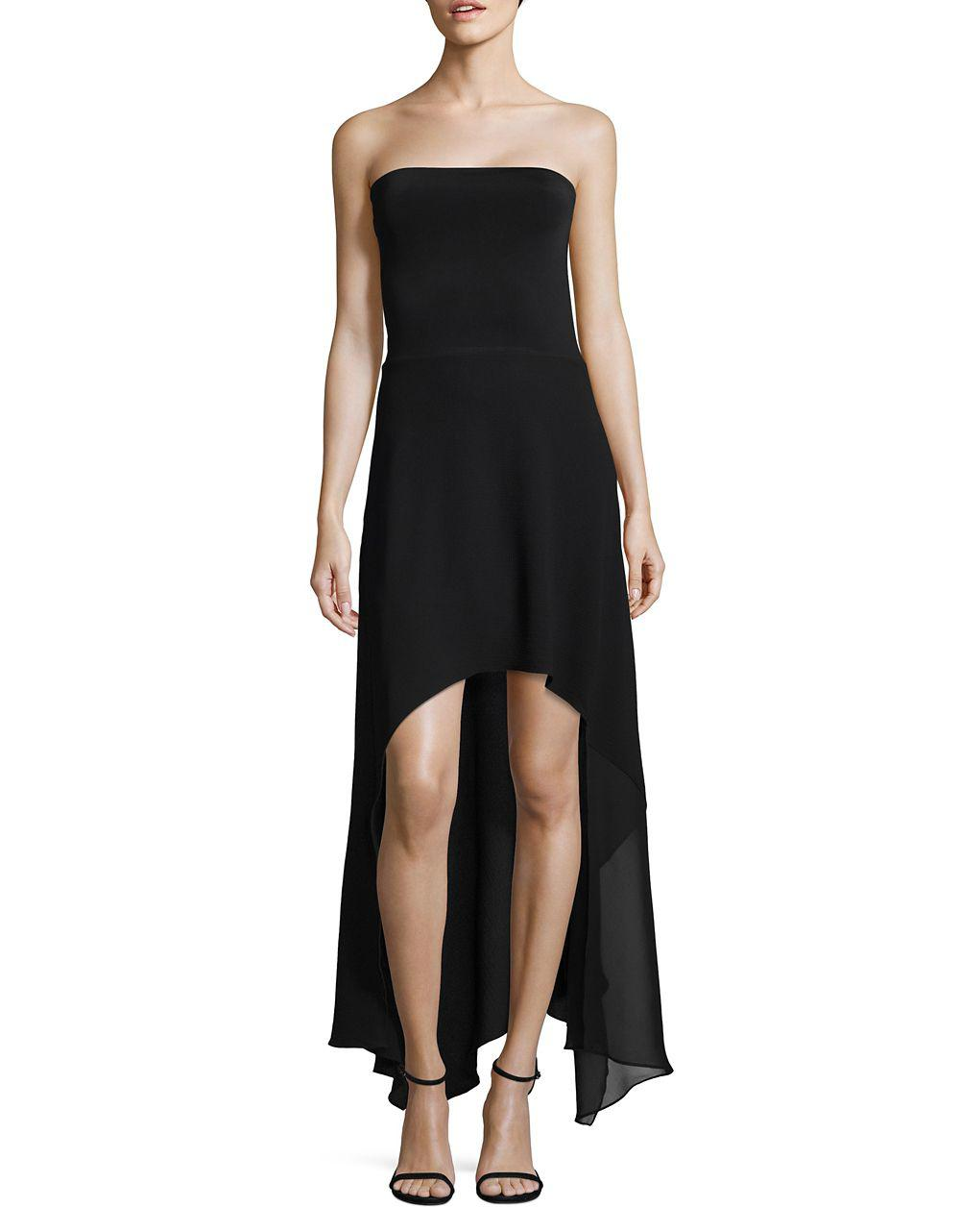 Lyst - Lord & Taylor Strapless Hi-lo Dress in Black
