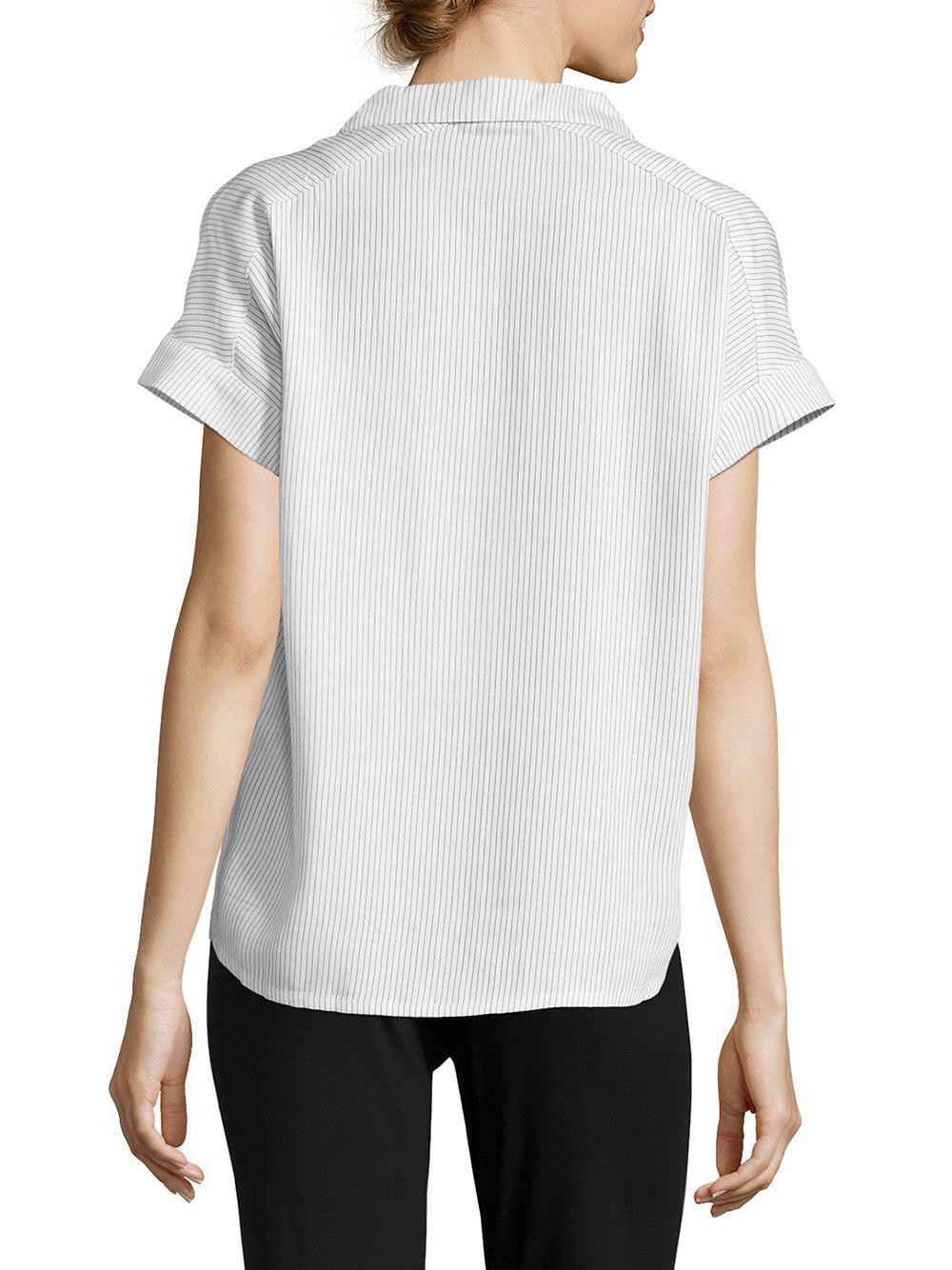 1c127c7c10 Calvin Klein - White Striped Button-down Pajama Top - Lyst. View fullscreen