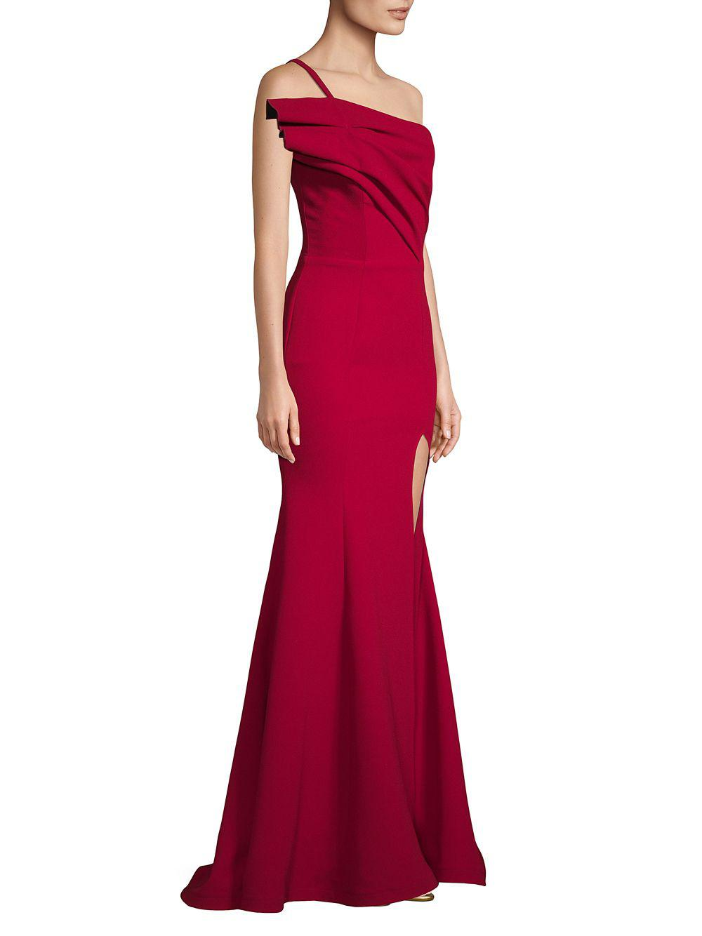 a41ac41cc4d6 Nicole Bakti - Red One-shoulder Slit Gown - Lyst. View fullscreen