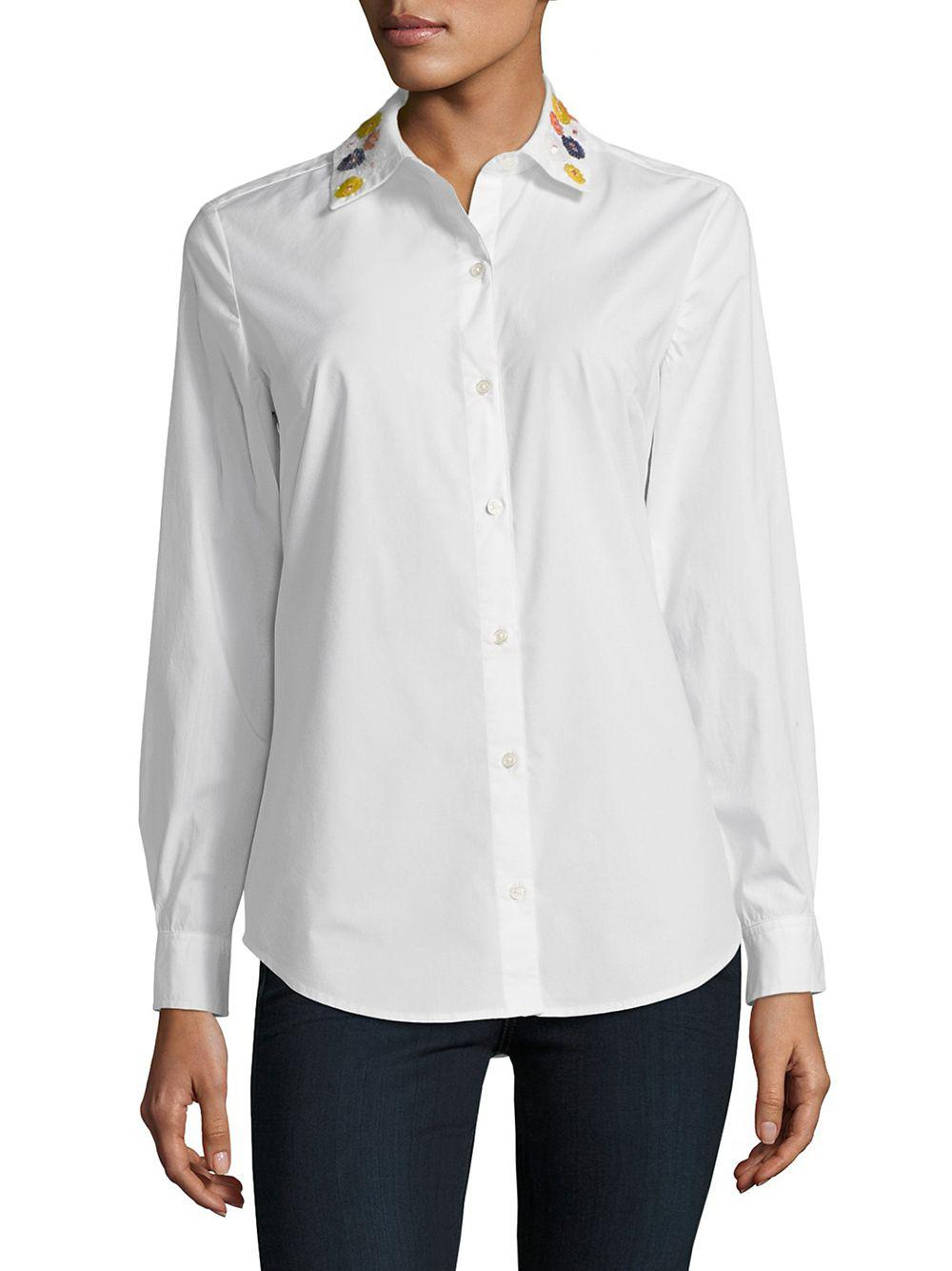 f2f667d0dd4243 Lyst - Lord   Taylor Plus Sequined Button-down Shirt in White