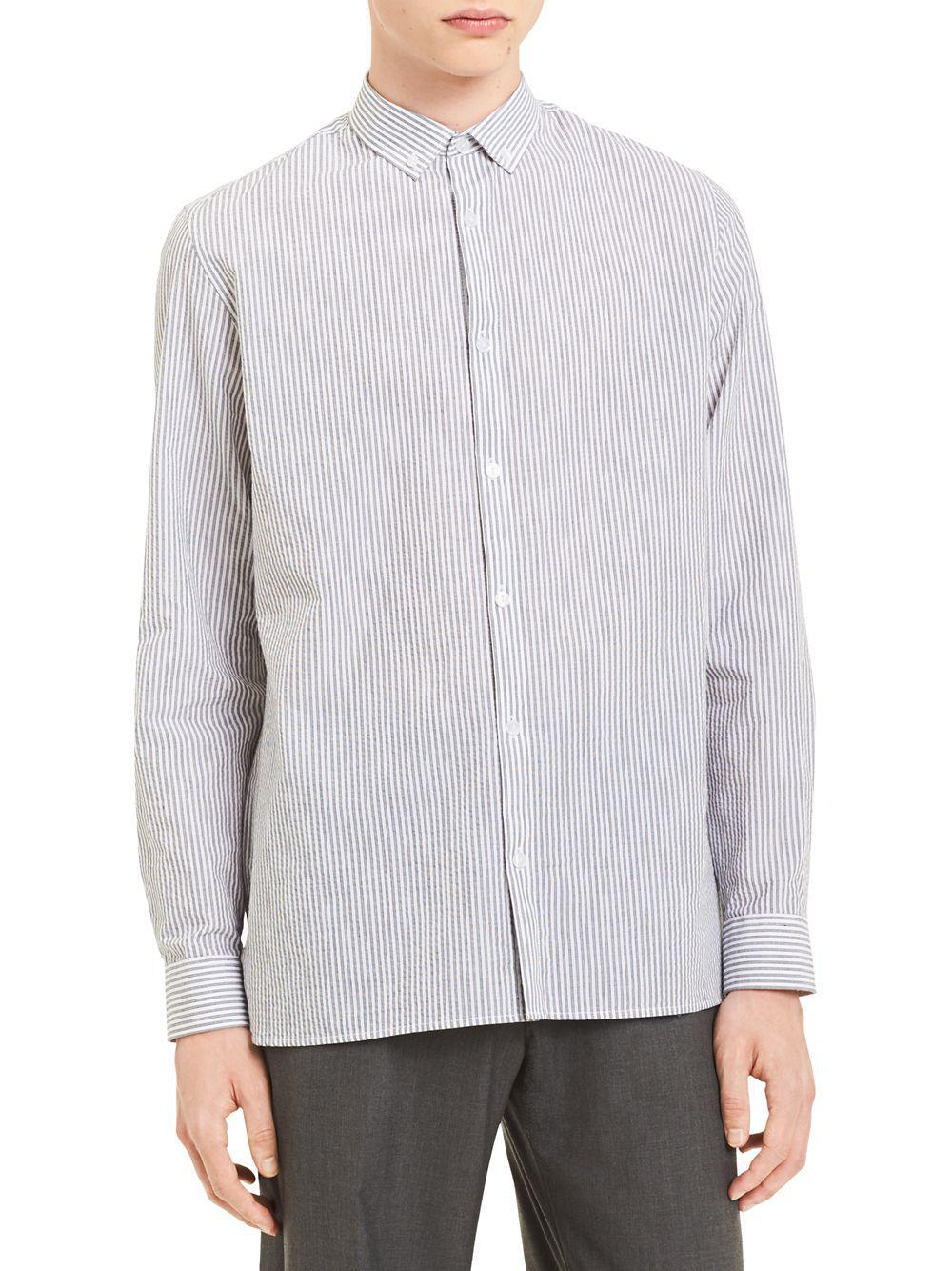 8b0bacdbc41 Lyst - Calvin Klein Yarn-dye Seersucker Dobby Stripe Shirt in White ...