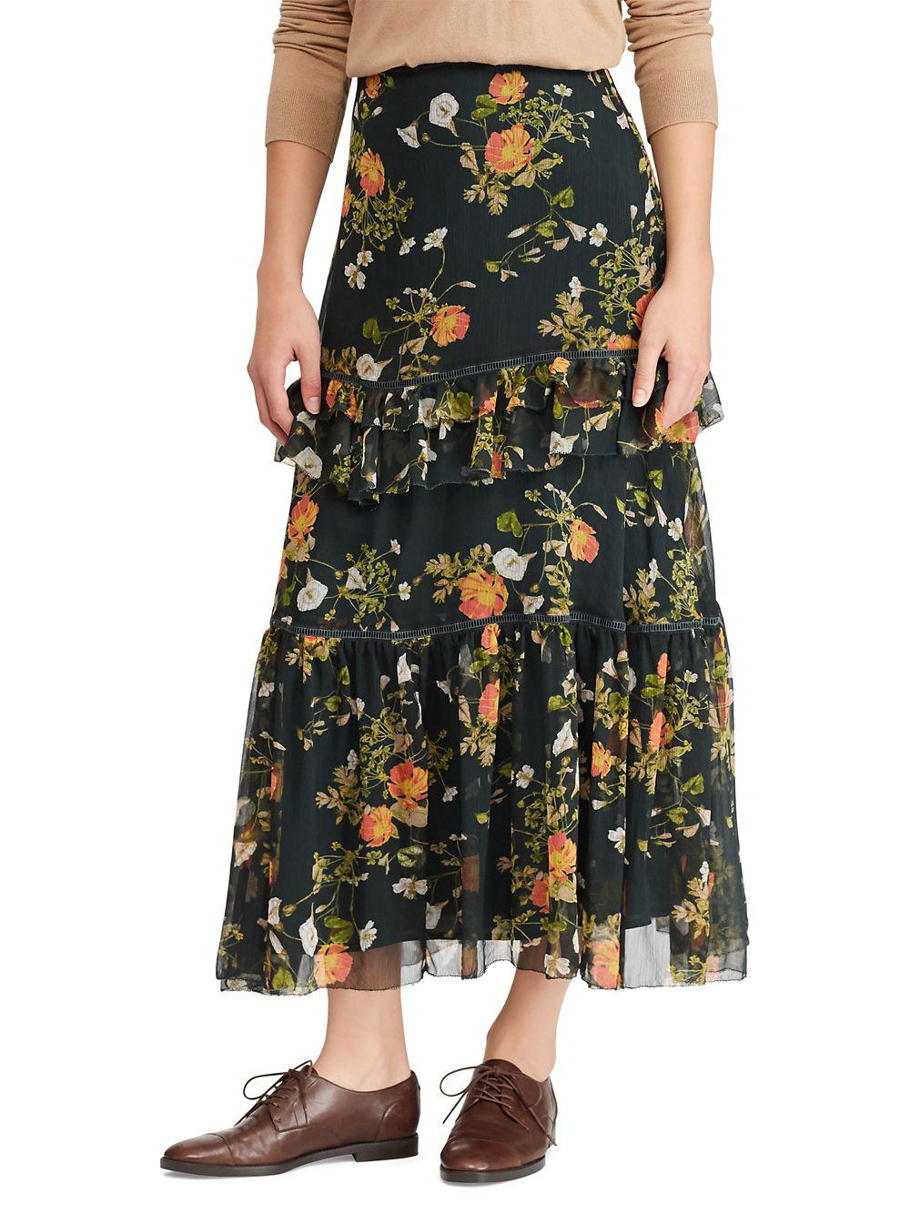 e0faffbe0c Lauren By Ralph Lauren Floral Georgette Maxi Skirt in Green - Lyst