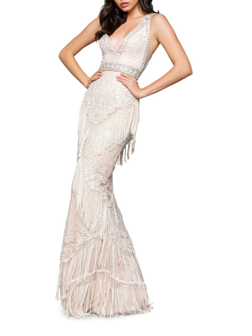 Lyst - Mac Duggal Sequin Embellished Gown in White