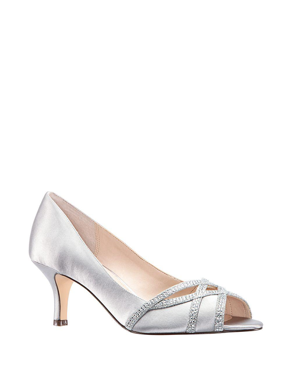 ded57f5f53e0 Lyst - Nina Manon Embellished Peep-toe Pumps in Gray