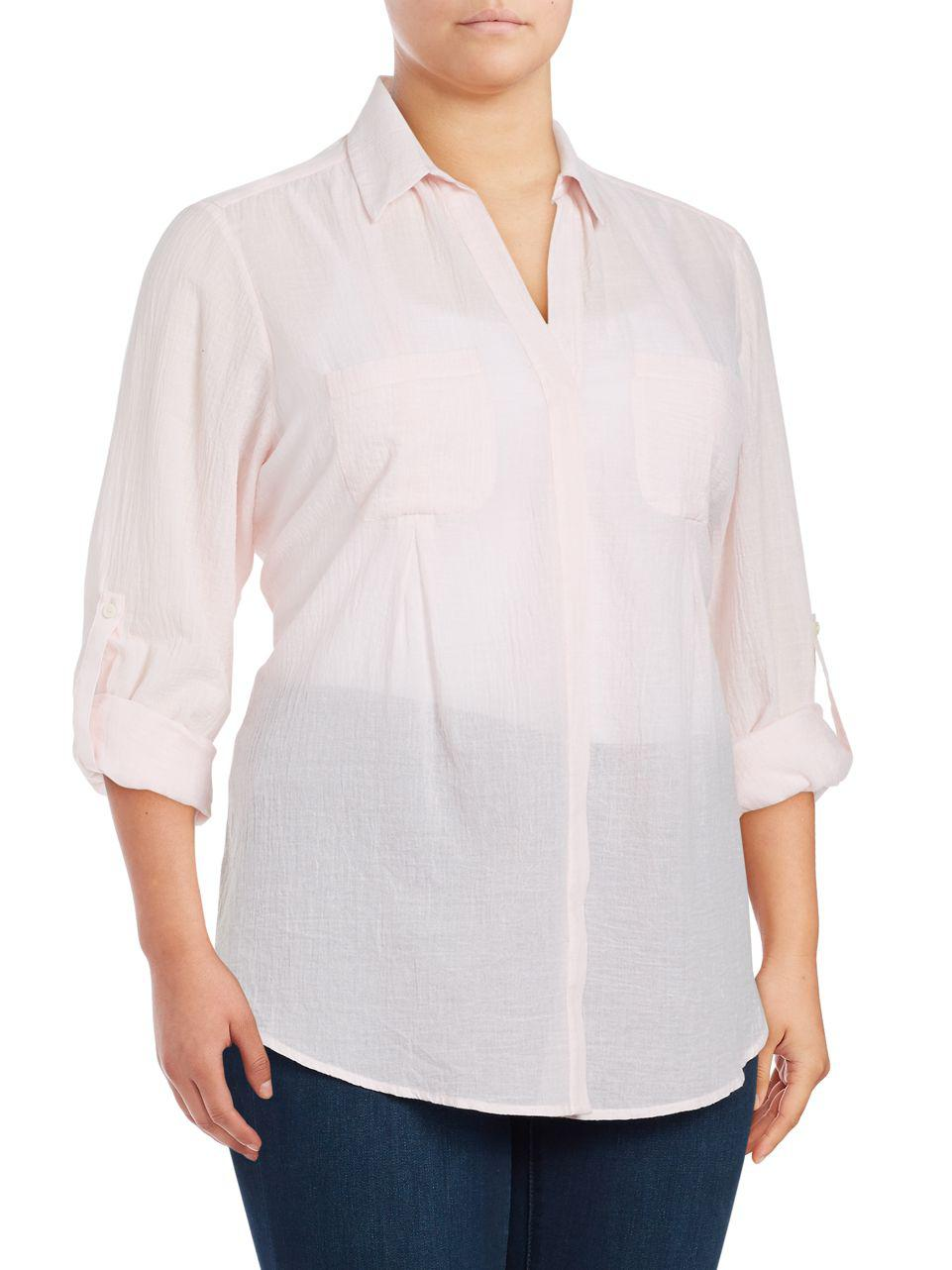 813db130236a5 Lyst - Lord   Taylor Plus Nancy Solid Cotton Shirt in Pink - Save 43%