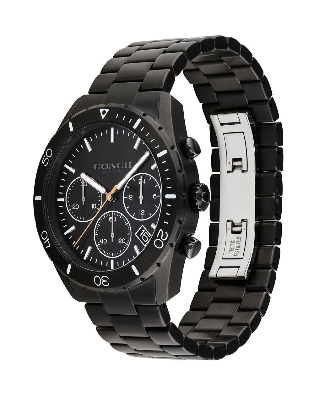 900ed4f25 Lyst - COACH Thompson Sport Stainless Steel Chronograph Bracelet Watch in  Black for Men