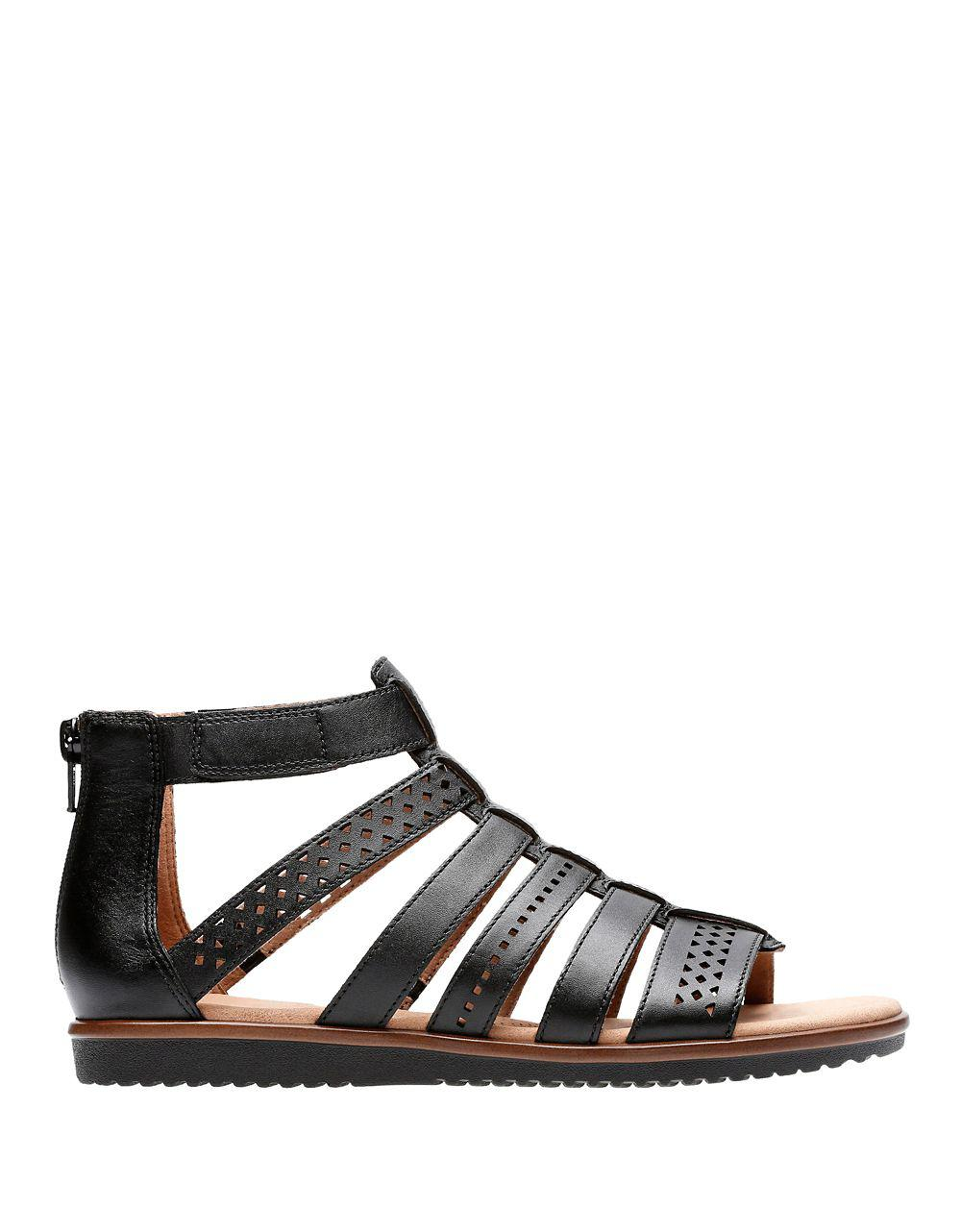 d5796f0c74 Clarks Kele Lotus Strappy Leather Sandals in Black - Lyst