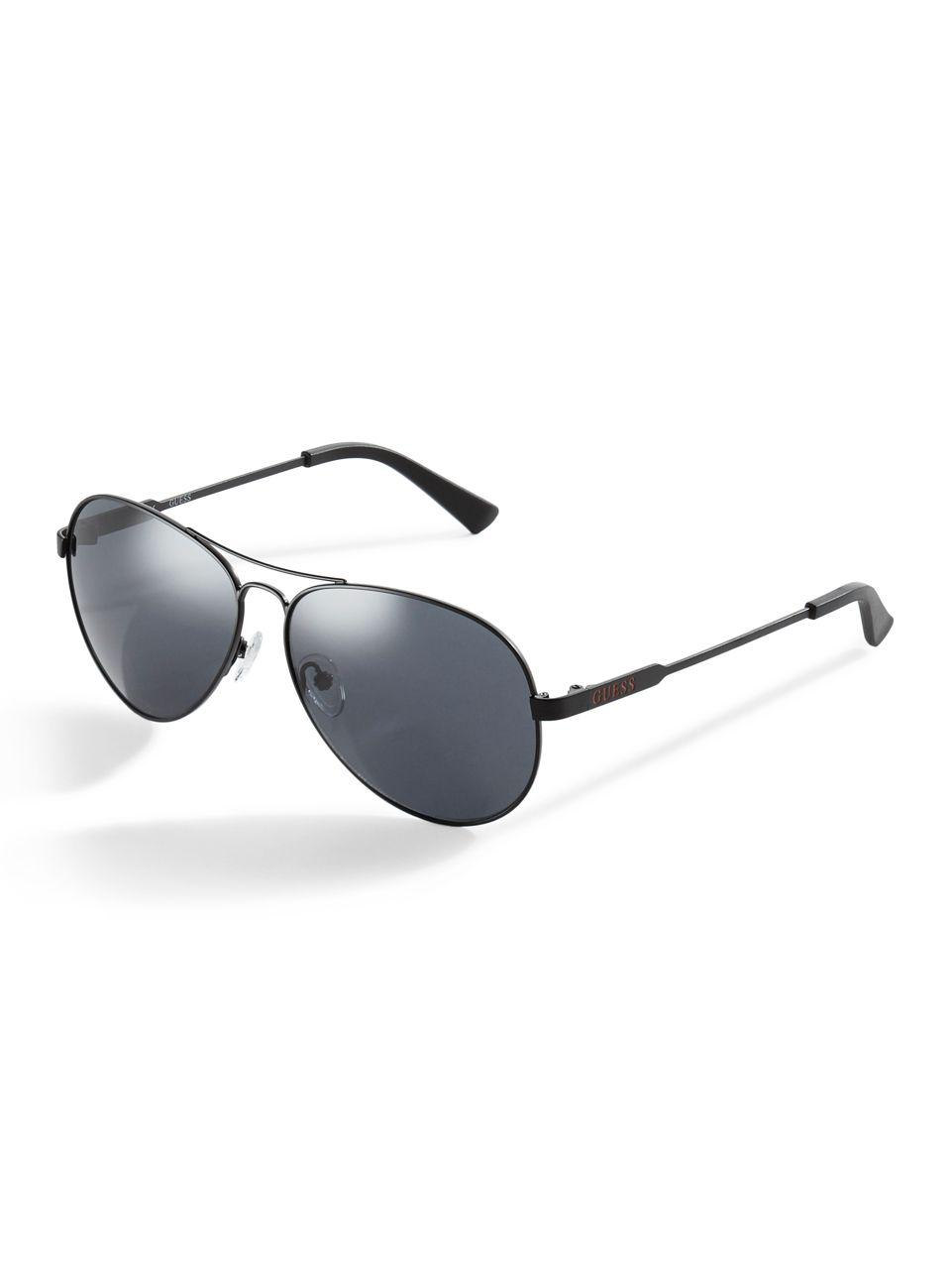 009489cb203f2 Lyst - Guess Classic Aviator Sunglasses in Black for Men - Save 23%