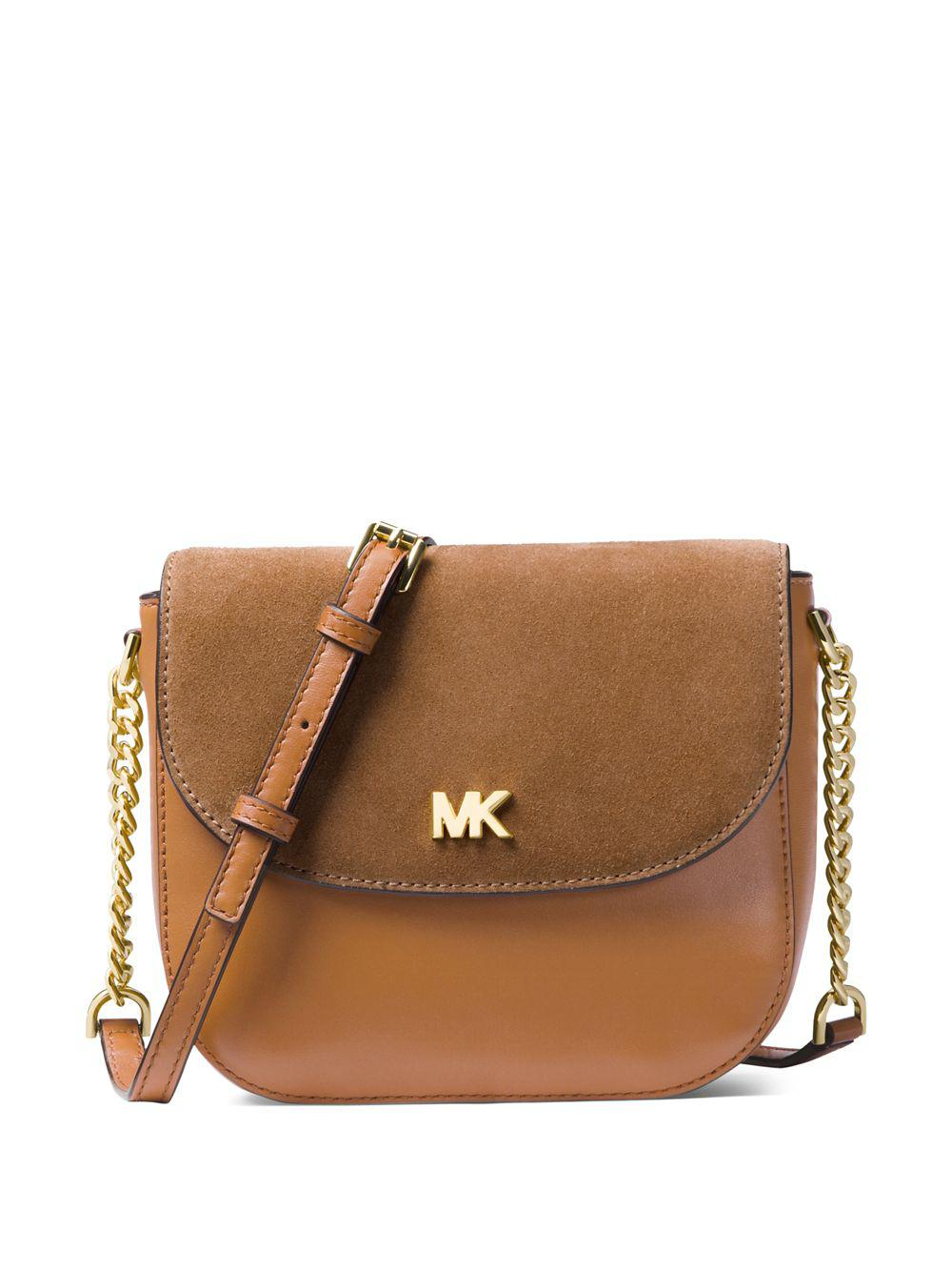 dbac73bc5f63 Lyst - Michael Michael Kors Half Dome Leather And Suede Crossbody ...