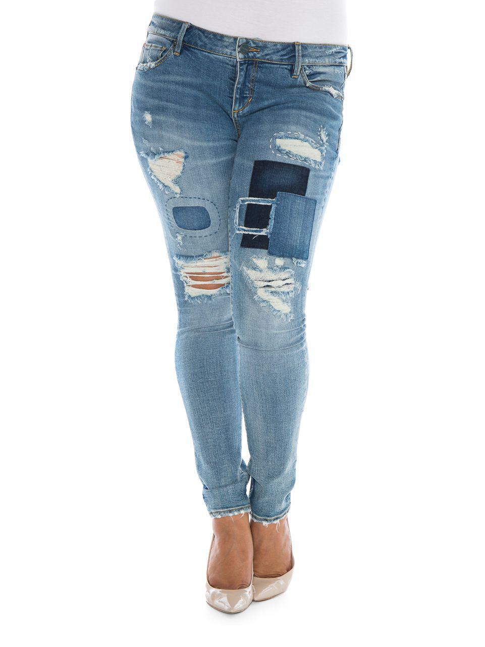 66eeb61f432 Slink Jeans Plus Plus Plus Hannah Distressed Boyfriend Jeans in Blue ...