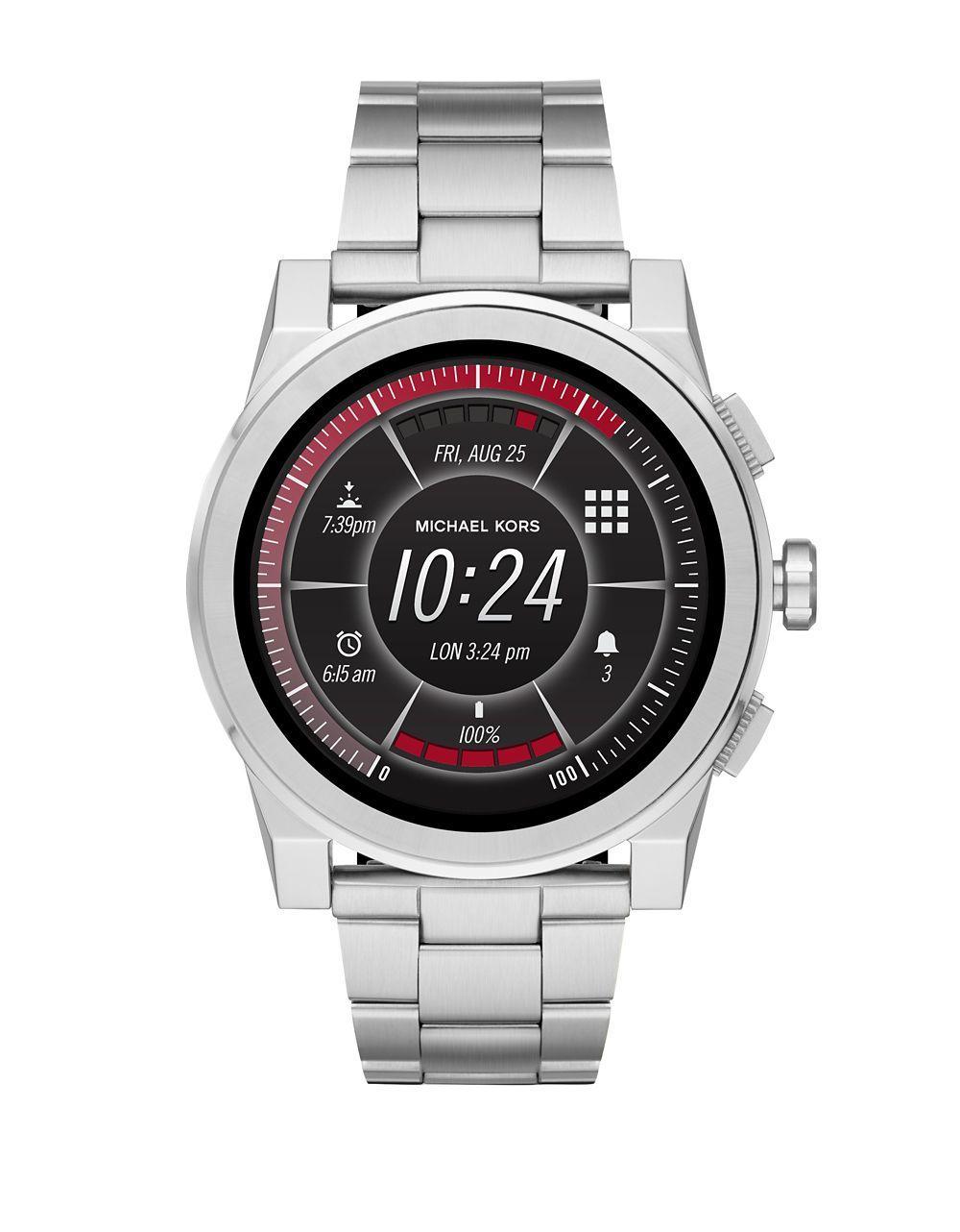 ed3569b83122 Michael Kors - Metallic Access Grayson Stainless Steel Touchscreen Bracelet  Smart Watch - Lyst. View fullscreen