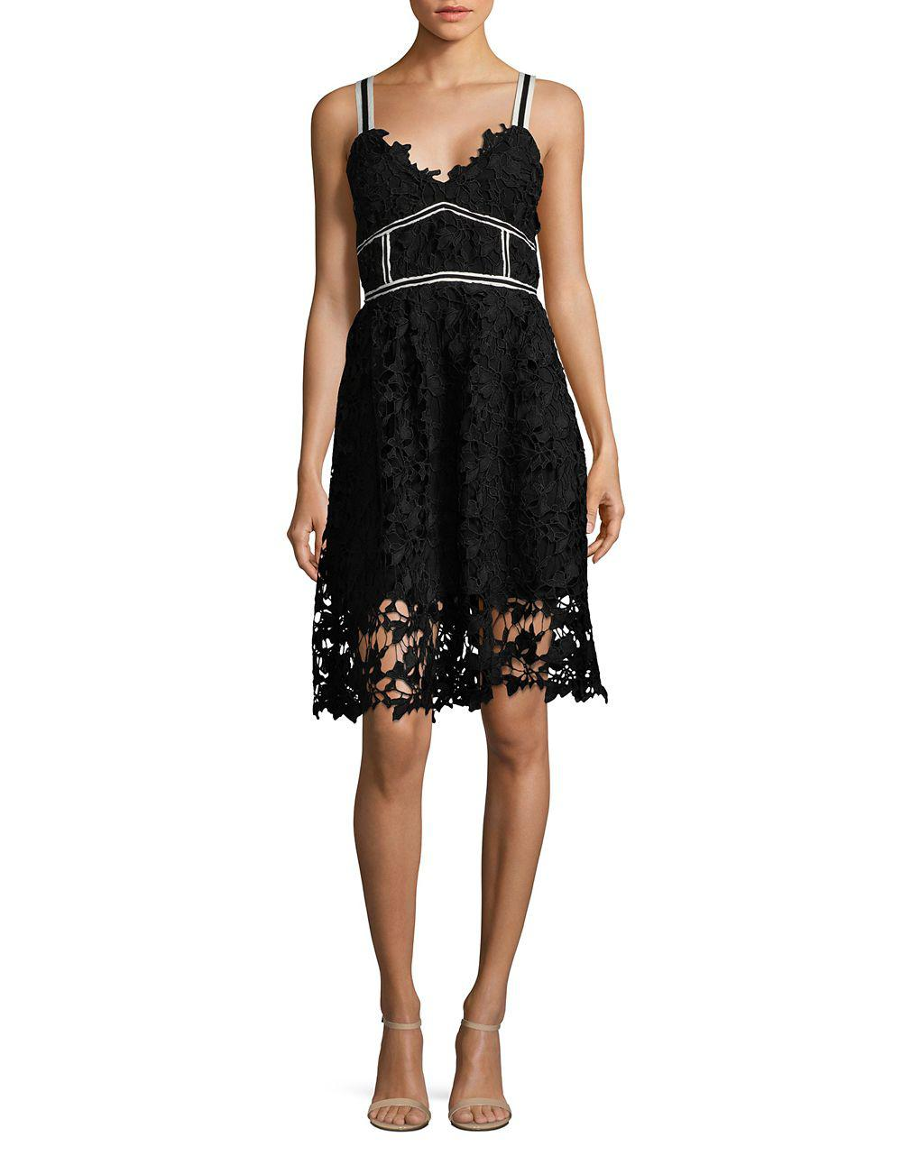 Lyst - Lord & Taylor Textured V-neck Lace Dress in Black