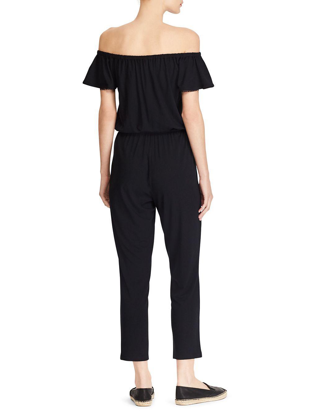 0127c977fa97 Lyst - Lauren By Ralph Lauren Off-the-shoulder Jumpsuit in Black