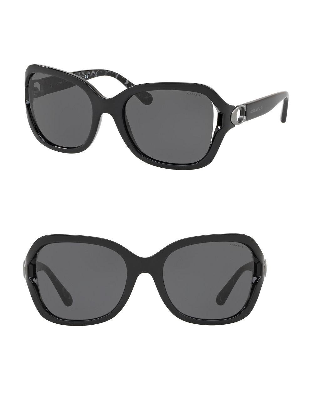 2256f87817dd COACH 57mm Square Sunglasses in Black - Lyst