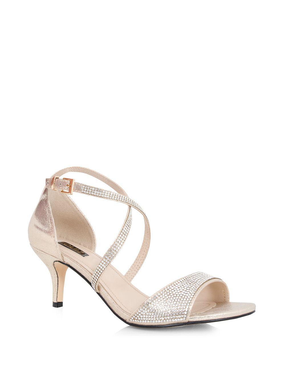 c0631f4e836 Quiz Metallic Shimmer Diamante Low-heel Pumps