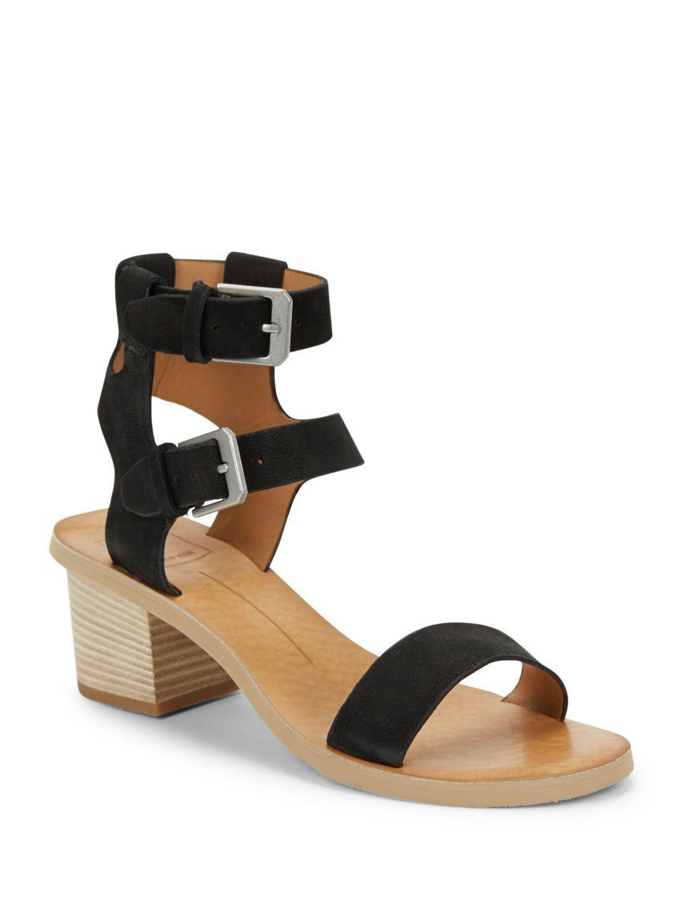 7615658385d Dolce Vita West Suede Block Heel Sandals in Black - Lyst