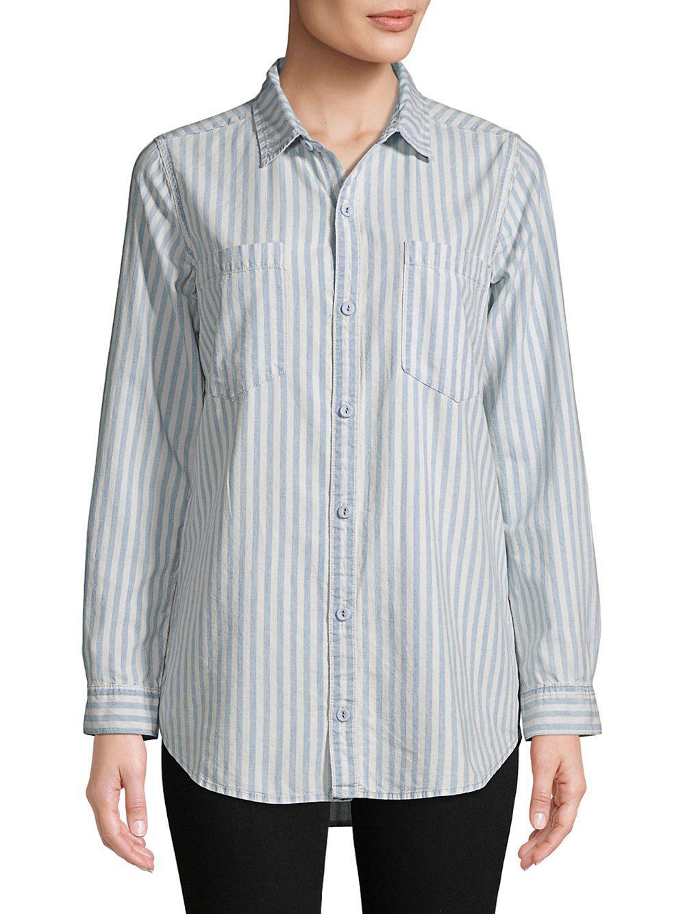 cd3712d15e Lyst - Lucky Brand Striped Oversized Shirt in Blue