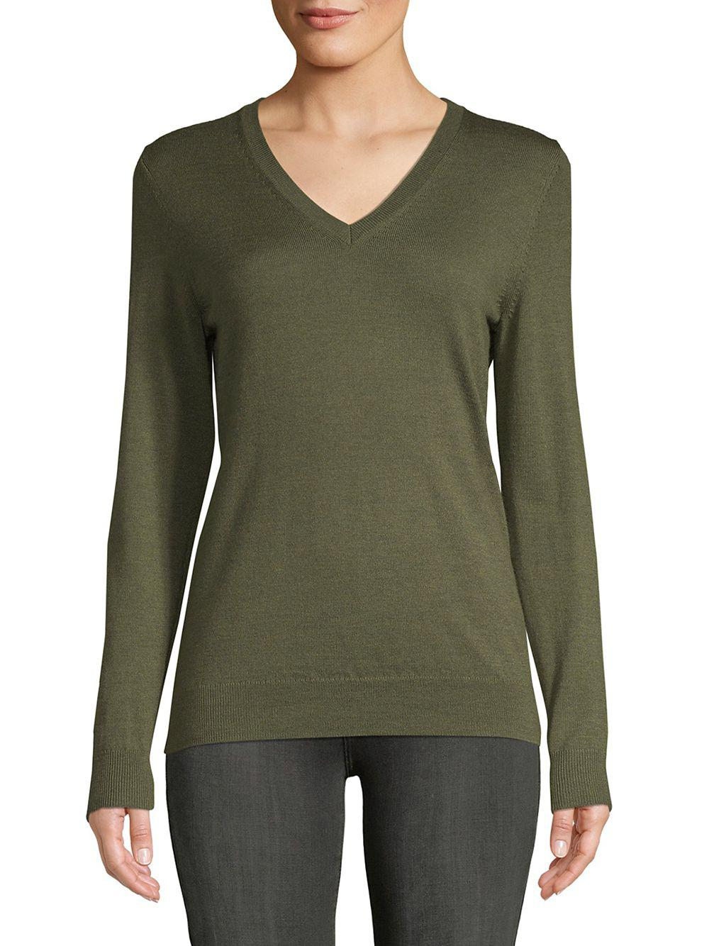 eaca9115dac4f Lyst - Lord   Taylor Petite Basic Merino Wool V-neck in Green
