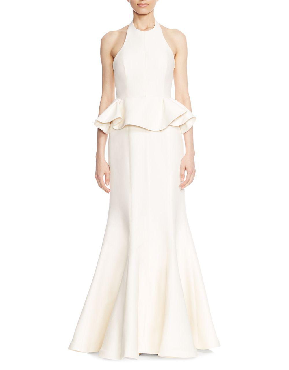 Lyst - Halston Heritage Flared Ruffled Evening Gown in Natural