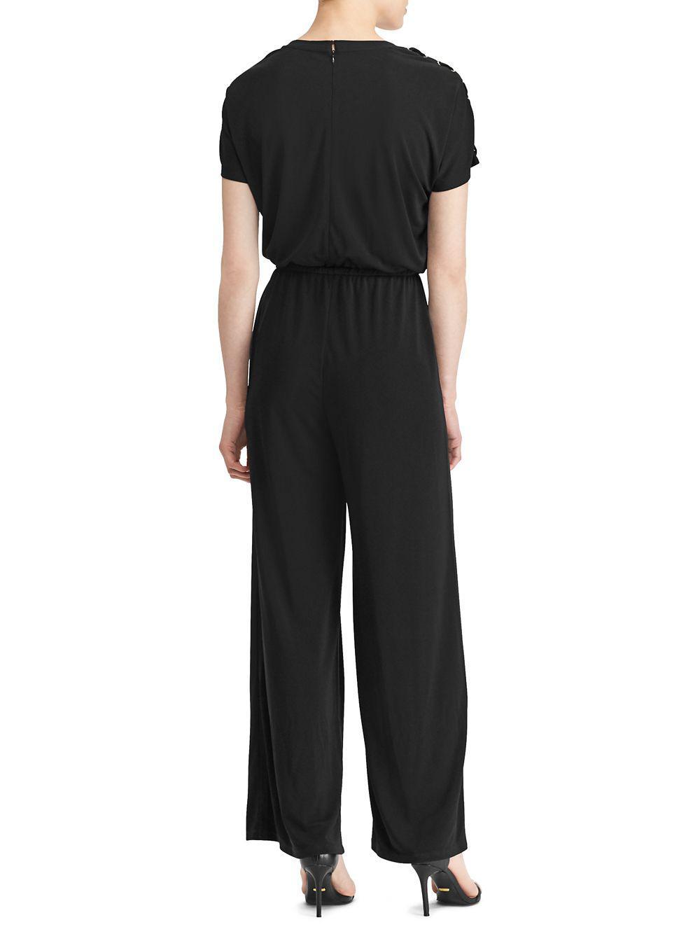 694f131e691 Lauren by Ralph Lauren - Black Petite Petite Jersey Wide-leg Jumpsuit - Lyst.  View fullscreen