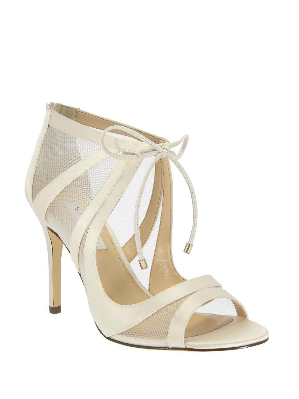 ae3e790befb2 Nina Cherie Satin Stiletto Sandals in White - Lyst