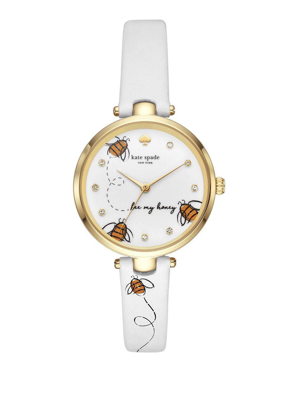 10a16bd23ae Kate Spade - White Holland Goldtone And Leather-strap Watch - Lyst. View  fullscreen