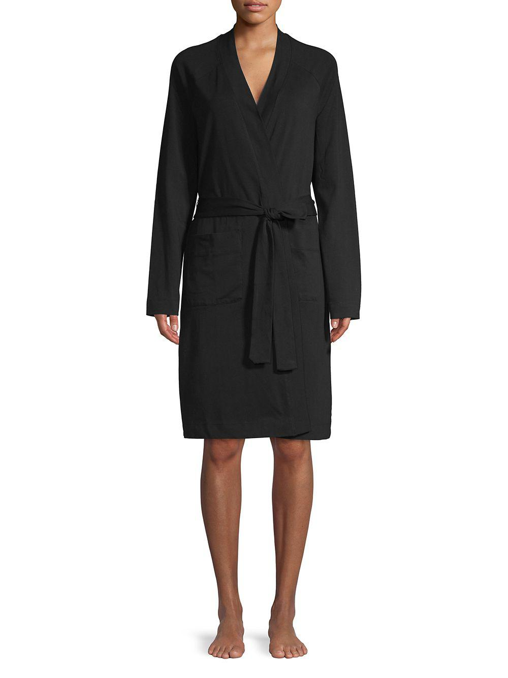 dbaf1b512a203 Lord & Taylor Open-front Robe in Black - Lyst